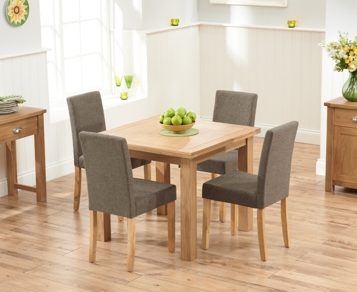Udine Solid Oak 90Cm Flip Top Extending Dining Set With 4 Worksop Inside Oak Dining Tables And Fabric Chairs (Image 24 of 25)