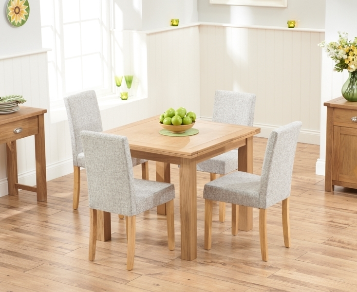 Udine Solid Oak 90Cm Flip Top Extending Dining Set With 4 Worksop With Regard To Oak Dining Tables And Fabric Chairs (Image 25 of 25)