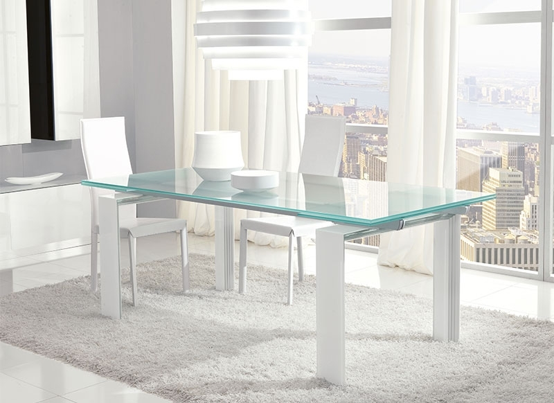 Unico Contemporary Glass Step Extending Dining Table Choice Of Colour For Glass Extending Dining Tables (Image 24 of 25)
