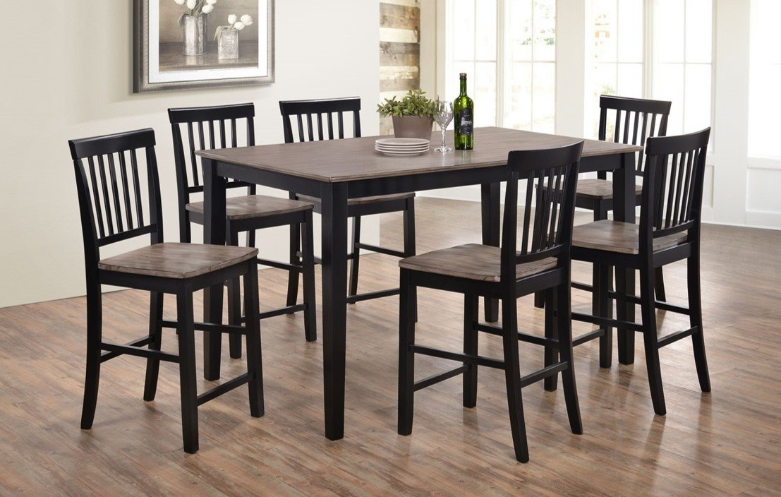 Union Rustic Stafford 7 Piece Dining Set & Reviews | Wayfair Intended For Laurent 7 Piece Rectangle Dining Sets With Wood And Host Chairs (Image 23 of 25)