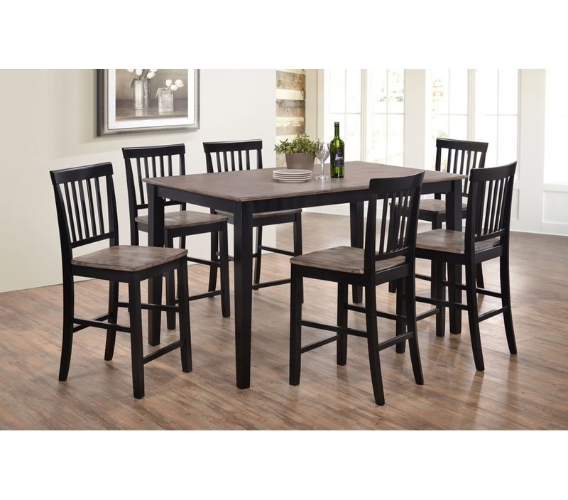 Union Rustic Stafford 7 Piece Dining Set & Reviews | Wayfair Within Laurent 7 Piece Rectangle Dining Sets With Wood And Host Chairs (Image 24 of 25)
