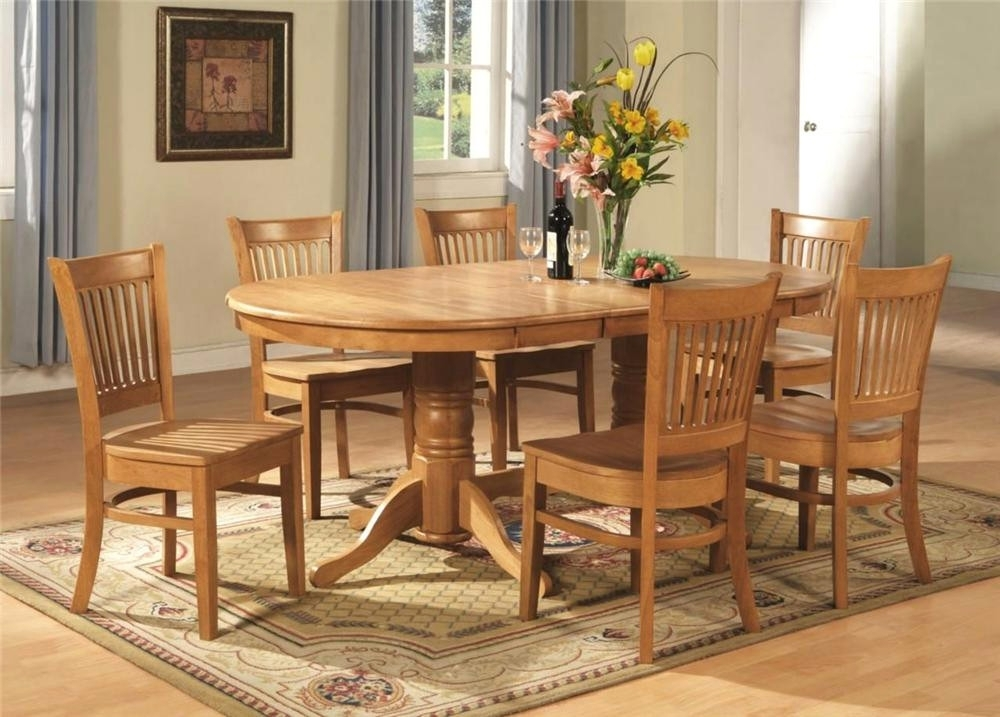 Unique 7 Pc Vancouver Oval Dinette Dining Room Set Table And 6 - Oak inside Oval Oak Dining Tables and Chairs