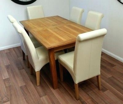 Unique Oak Extending Dining Table X 6 Cream Leather Dining Chairs regarding Oak Extending Dining Tables And 6 Chairs