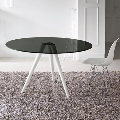 Unity 110Cm Round Smoked Glass Dining Table within Smoked Glass Dining Tables and Chairs