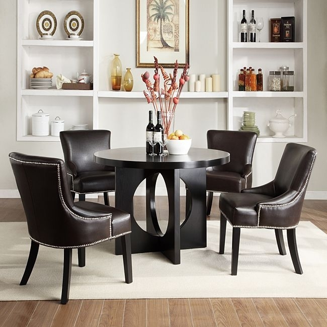 Update Your Dining Room With This Comfortable Contemporary Brown Within Caden 5 Piece Round Dining Sets With Upholstered Side Chairs (Photo 22 of 25)