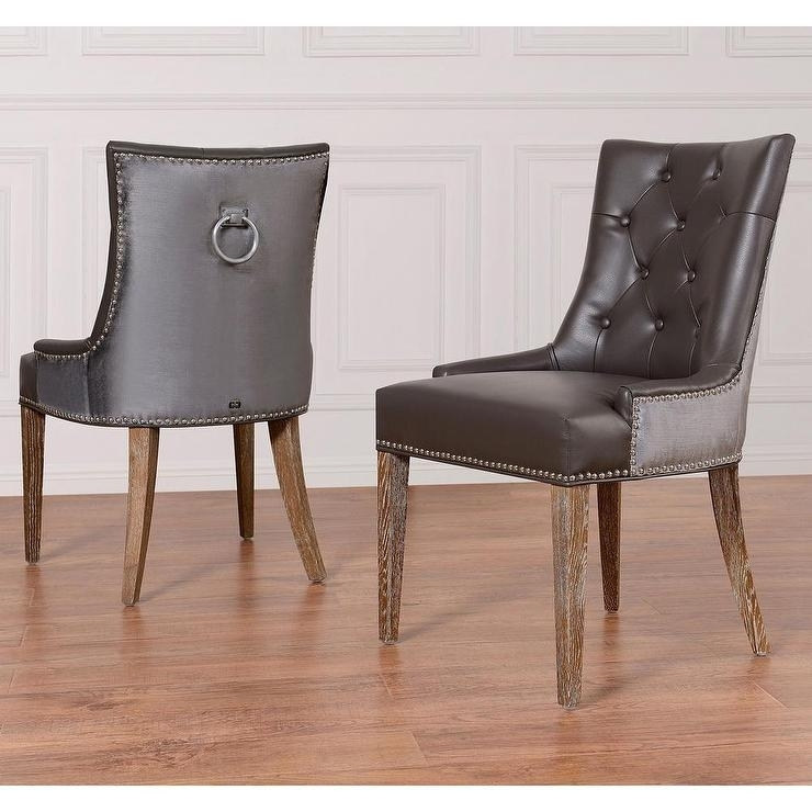 Uptown Grey Leather Velvet Dining Chair Intended For Grey Leather Dining Chairs (Photo 25 of 25)