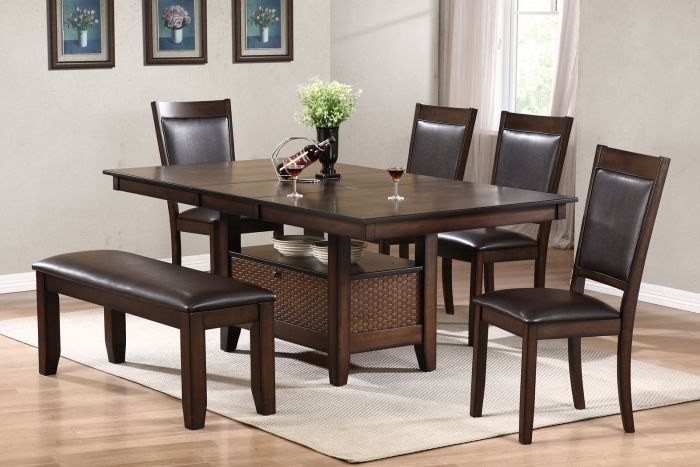 Urban Styles Winchester 7Pc Rectangular Dining Set In Cappuccino with Carly Rectangle Dining Tables