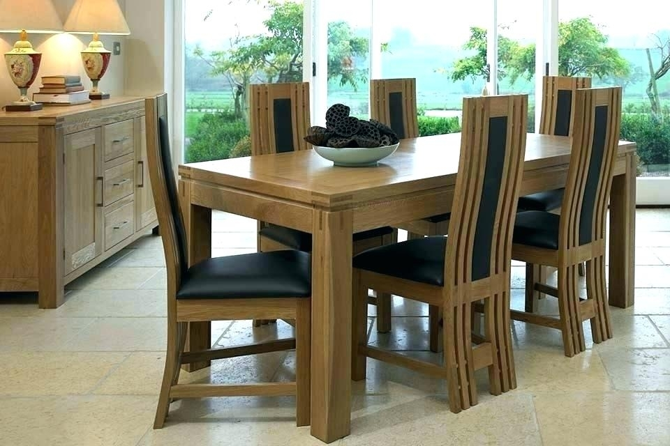 Used Oak Dining Room Table And 6 Chairs Solid Wood With Leather Within Oak Extending Dining Tables And 6 Chairs (Image 25 of 25)