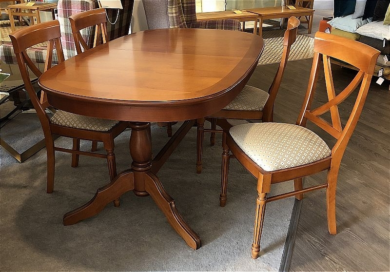 Vale Furnishers Cork Medium Oval Extending Dining Table And 4 Cross Inside Cork Dining Tables (Image 24 of 25)