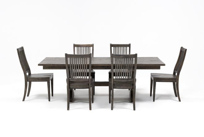 Valencia 72 Inch 7 Piece Dining Set | Living Spaces Within Valencia 72 Inch Extension Trestle Dining Tables (Image 22 of 25)