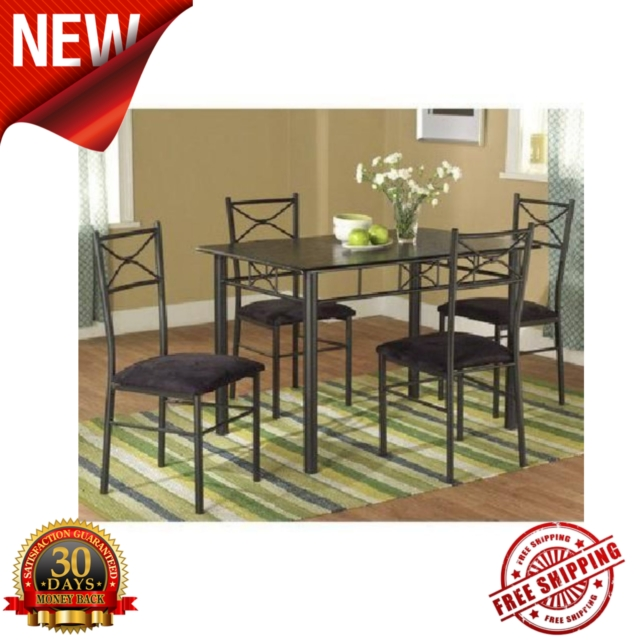 Valencia Metal Dining Set 5 Piece Table Chairs Room Furniture Home for Valencia 3 Piece Counter Sets With Bench