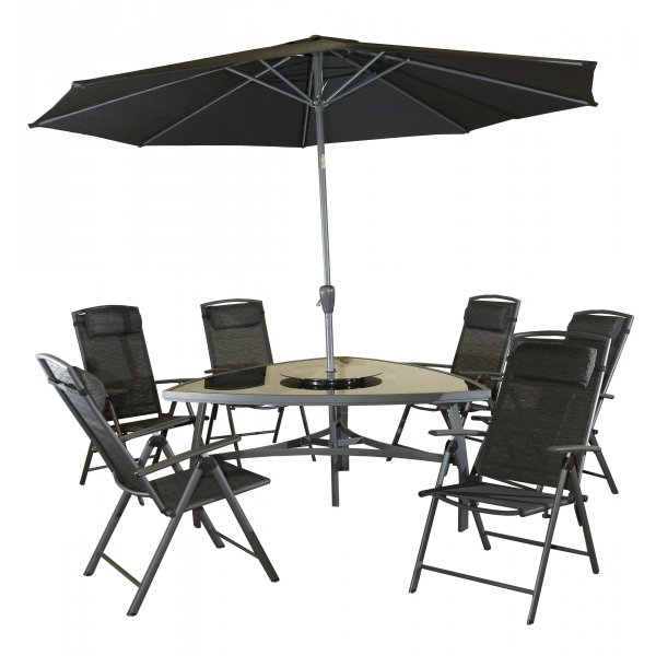 Valencia Monaco Triangular 6 Seater Dining Set ¦ 2 Colours Aluminium With Regard To Monaco Dining Sets (Image 24 of 25)