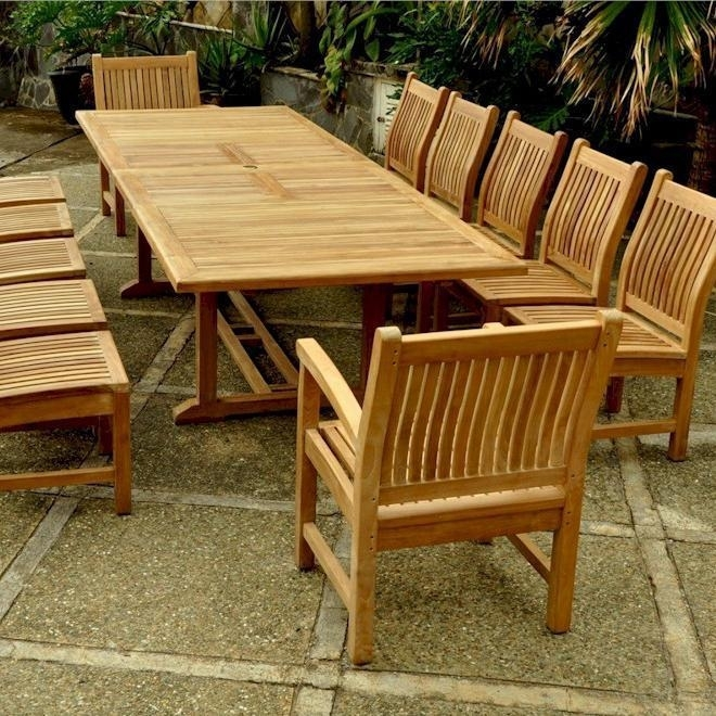 Valencia Sahara 13 Piece Teak Patio Dining Set W/ 79 X 43 Inch Throughout Valencia 72 Inch 7 Piece Dining Sets (Image 24 of 25)