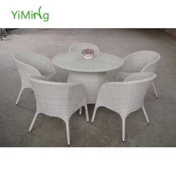 Valencia White Wicker Round Dining Tables In Glass With Chair Yard Regarding Wicker And Glass Dining Tables (Image 21 of 25)