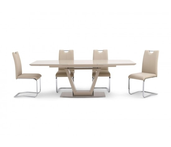 Valente Extending Cream High Gloss Dining Table With 6 Gabi Chairs inside Cream Gloss Dining Tables And Chairs