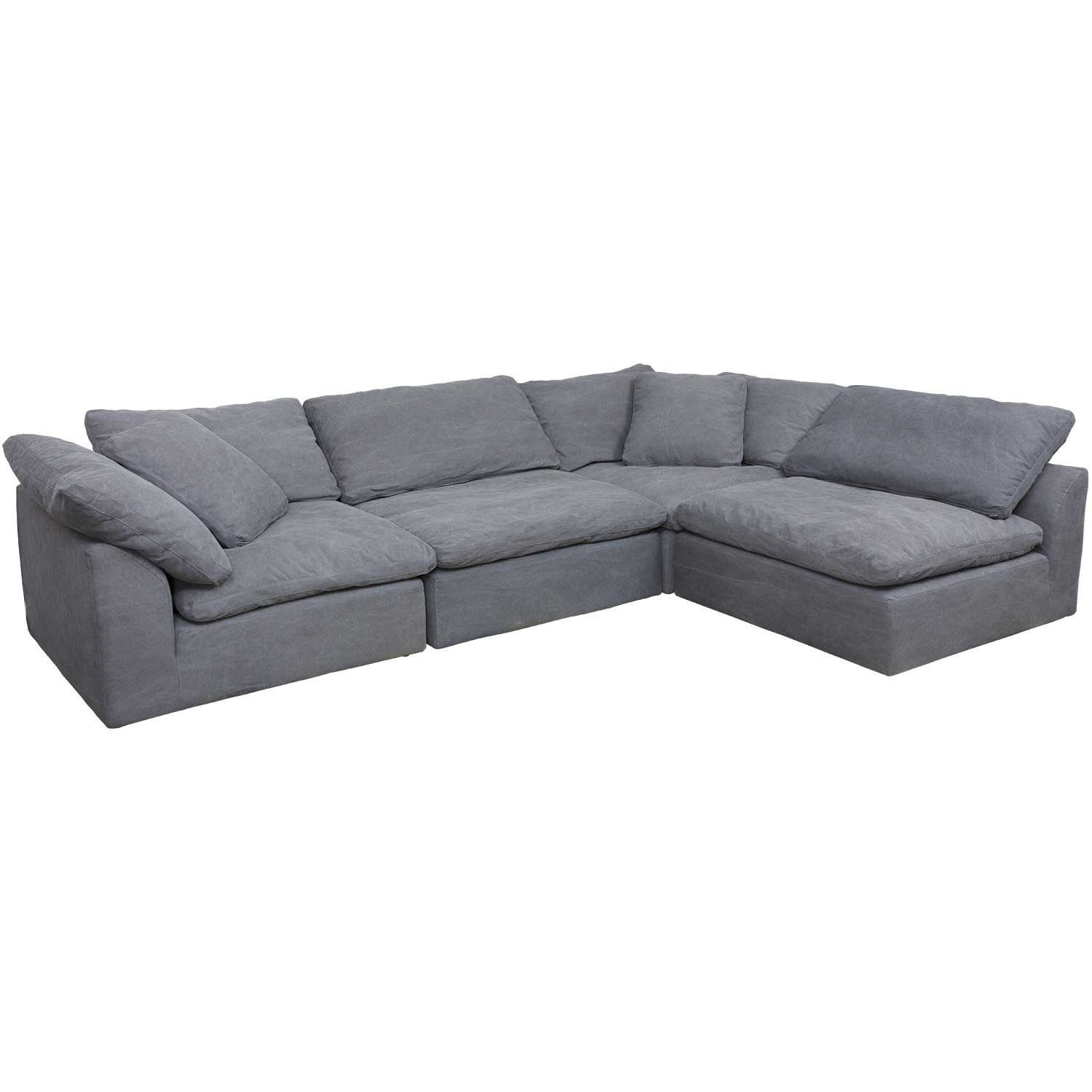 Vaughn Gray 4 Piece Sectional | 1458 51X2  37X2 | Synergy Home For Mesa Foam 2 Piece Sectionals (Image 25 of 25)