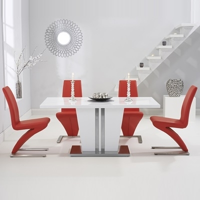 Vegas High Gloss White Dining Table With 6 Harvey Red Chairs throughout Red Gloss Dining Tables