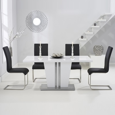 Vegas High Gloss White Dining Table With 6 Milan Black Chairs Regarding White Dining Tables And 6 Chairs (View 3 of 25)