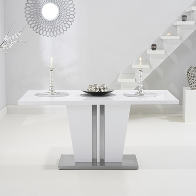 Vegas High Gloss White Dining Table With 6 Milan White Chairs Throughout High Gloss White Dining Tables And Chairs (Image 25 of 25)