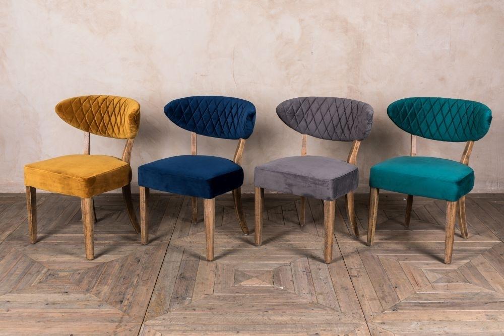 Velvet Dining Chairs Retro Style Seat | Peppermill Interiors With Velvet Dining Chairs (Image 25 of 25)