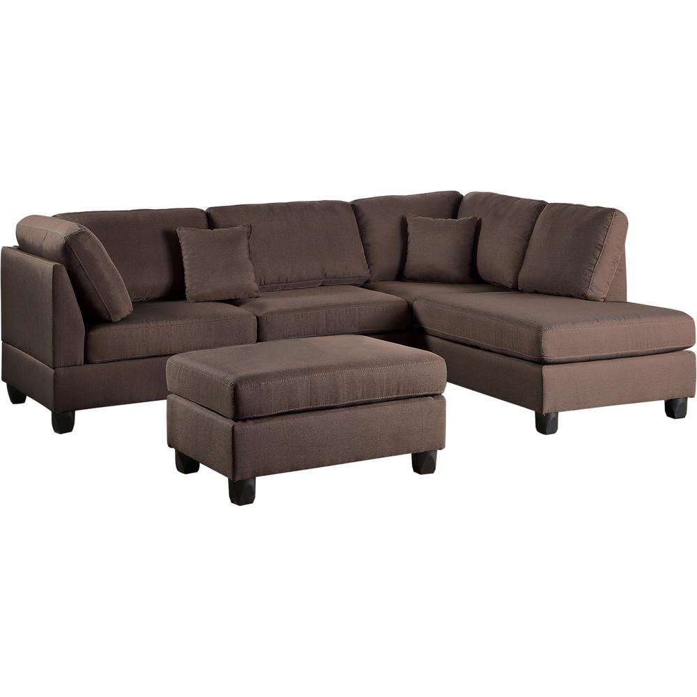 Venetian Worldwide Madrid 3 Piece Chocolate Reversible Sectional For Marissa Ii 3 Piece Sectionals (Image 23 of 25)