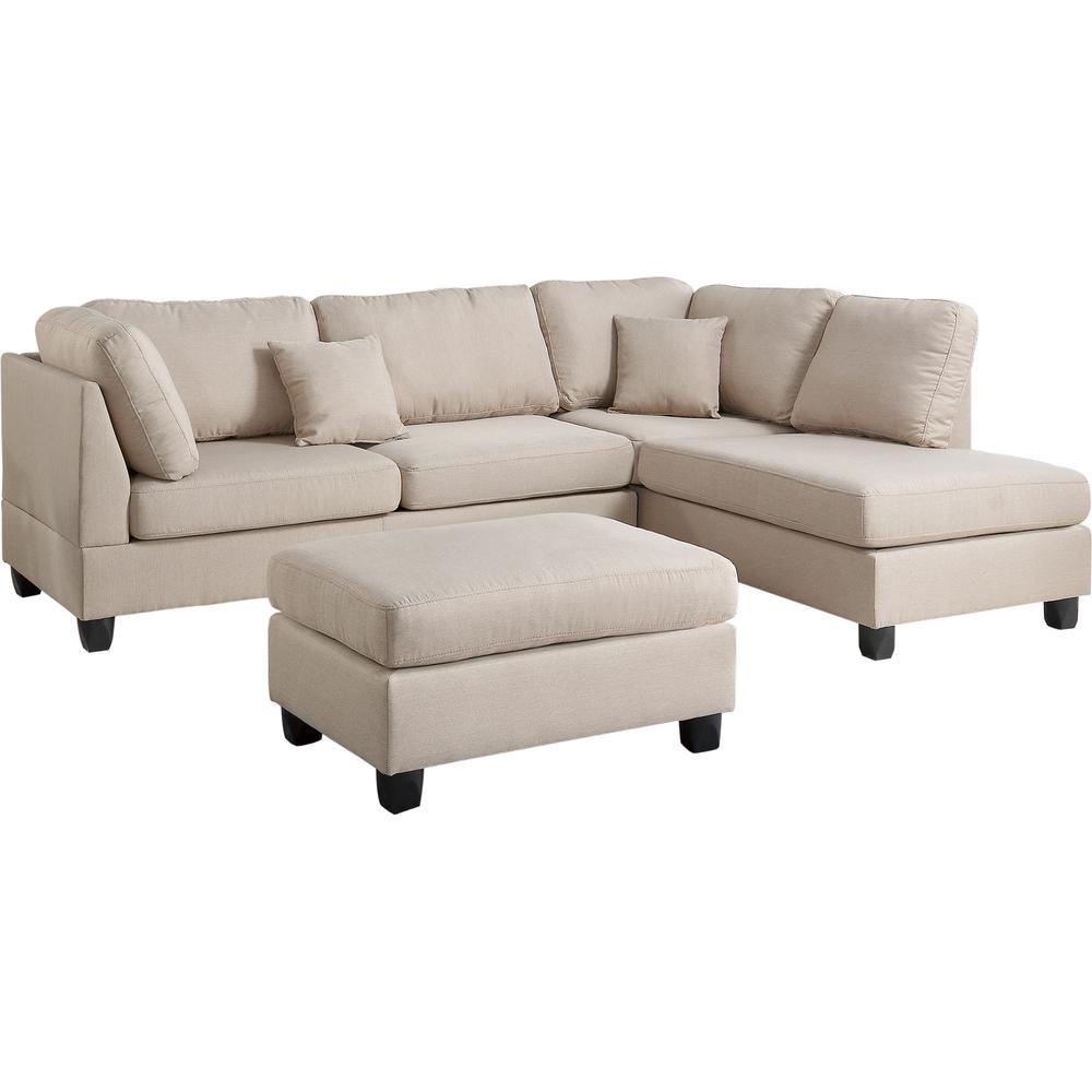 Venetian Worldwide Madrid 3 Piece Reversible Sectional Sofa In Sand Inside Marissa Ii 3 Piece Sectionals (Image 24 of 25)