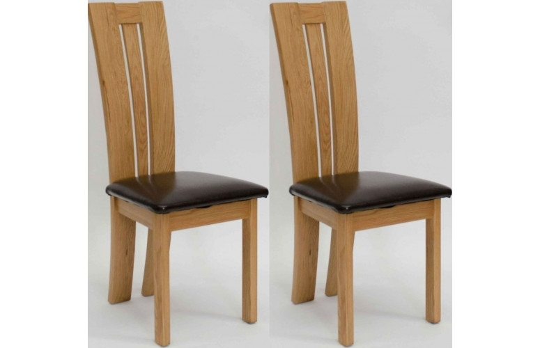 Venezia Leather Seated Solid Oak Dining Chair | Furniture4Yourhome Throughout Oak Dining Chairs (Image 24 of 25)