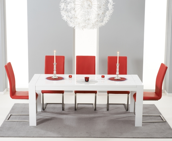 Venice 200Cm High Gloss Dining Table +4 Malibu Red Chairs [302706 In Red Gloss Dining Tables (Image 21 of 25)