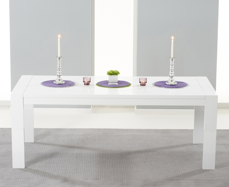 Venice 200Cm White High Gloss Extending Dining Table Within High Gloss Dining Sets (Image 24 of 25)