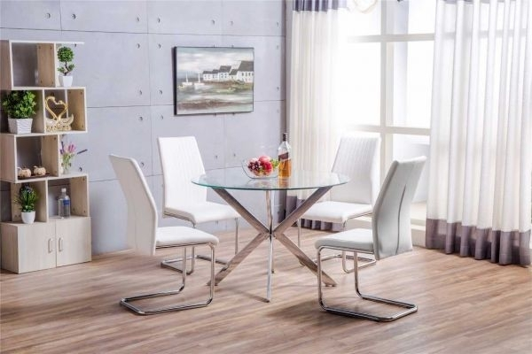 Venice Chrome Metal Round Circular Glass Dining Table And 4 White For Chrome Glass Dining Tables (Image 24 of 25)