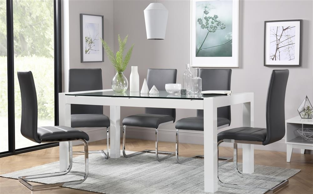 Venice & Perth White Gloss & Glass Dining Table & 4 6 Leather Chairs Regarding Perth Glass Dining Tables (View 4 of 25)