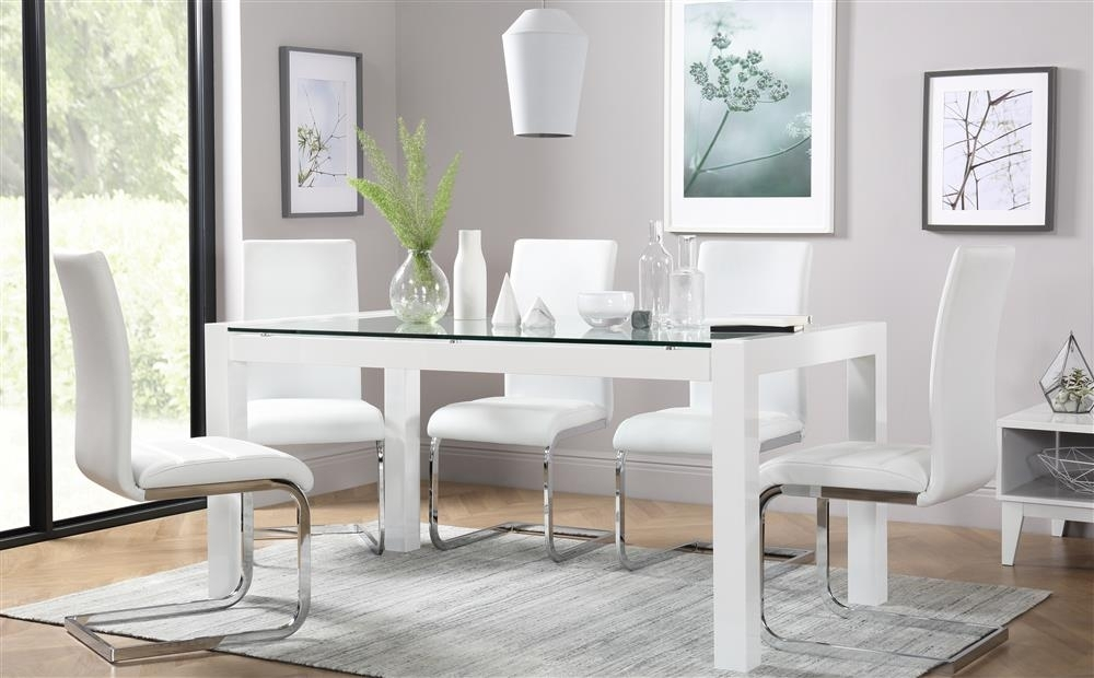 Venice White High Gloss And Glass Dining Table And 4 Chairs Set Intended For Perth White Dining Chairs (Image 25 of 25)