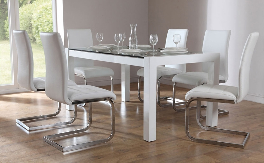 Venice White High Gloss And Glass Dining Table And 4 Navy Blue with White Gloss and Glass Dining Tables