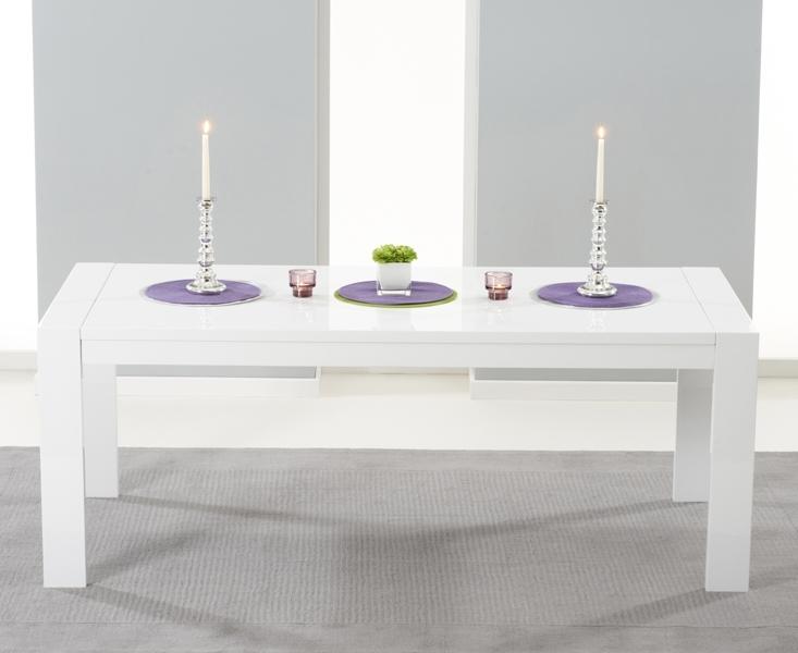 Venice White High Gloss Extending Dining Table (200Cm 300Cm) | Style Intended For Black Gloss Extending Dining Tables (Image 22 of 25)