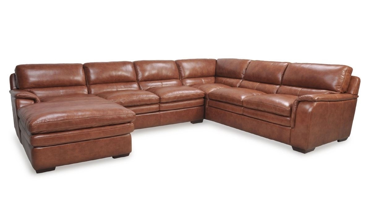 Venus Brandy Leather Chaise Sectional | The Dump Luxe Furniture Outlet Intended For Norfolk Grey 6 Piece Sectionals With Raf Chaise (Image 24 of 25)