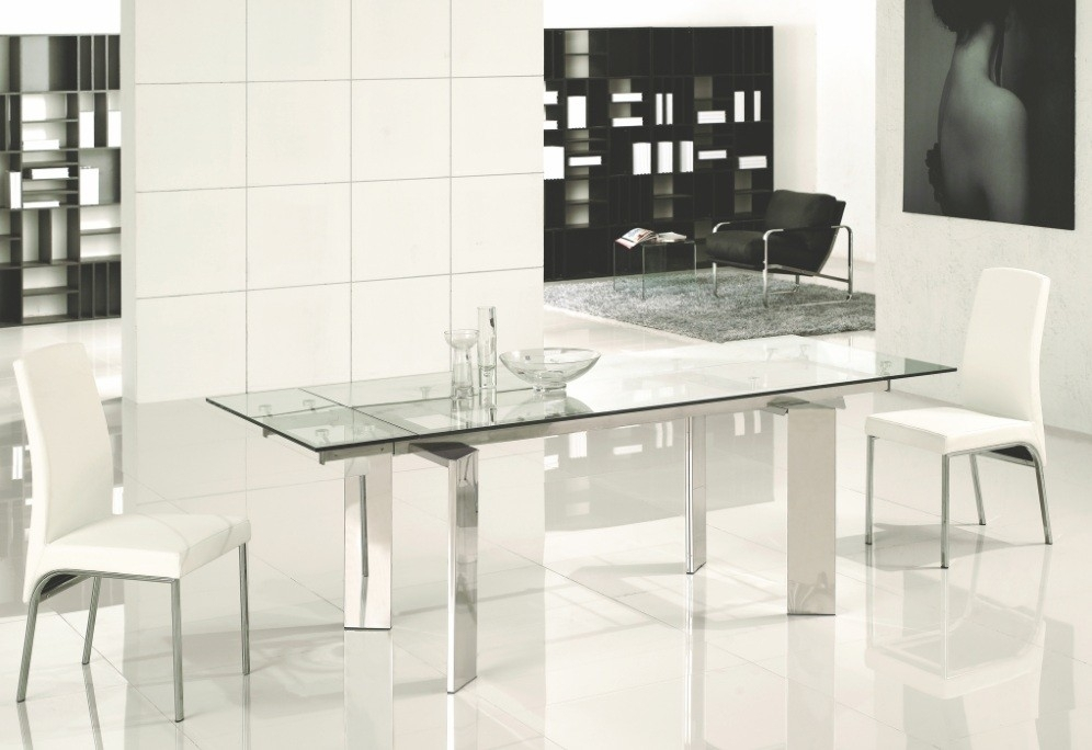 Vera Extendable Modern Rectangular Dining Table with regard to Glass Folding Dining Tables