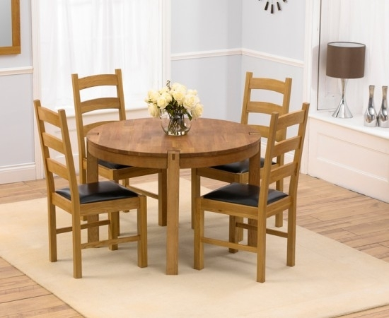 Verona 110Cm Solid Oak Round Dining Table + 4 Valencia Leather For Oak Round Dining Tables And Chairs (Image 25 of 25)
