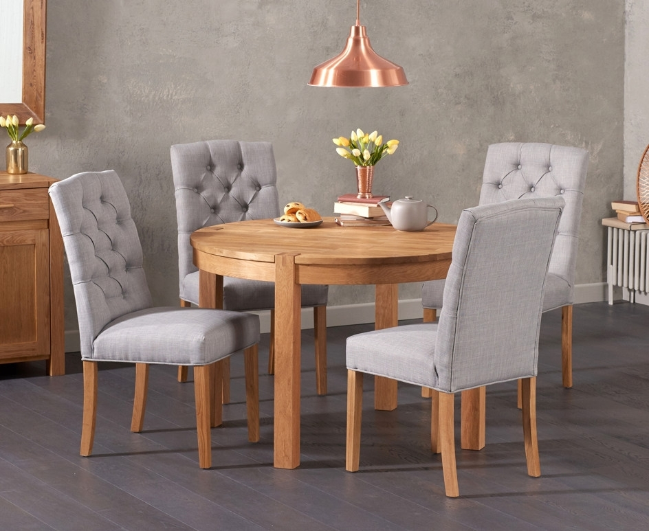 Verona 110Cm Solid Oak Round Table With Candice Fabric Chairs | The Regarding Candice Ii Round Dining Tables (Photo 5 of 25)