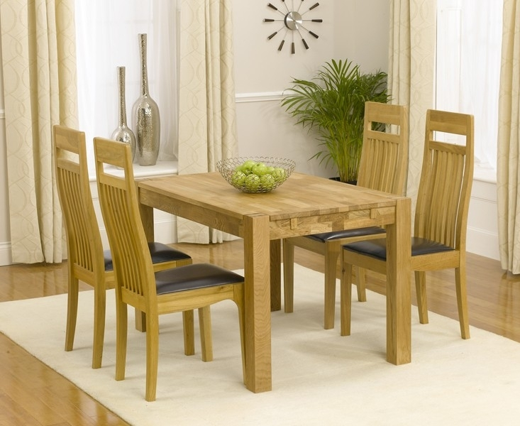 Verona 120Cm Solid Oak Extending Dining Table With Monaco Chairs With Regard To Monaco Dining Sets (Image 25 of 25)