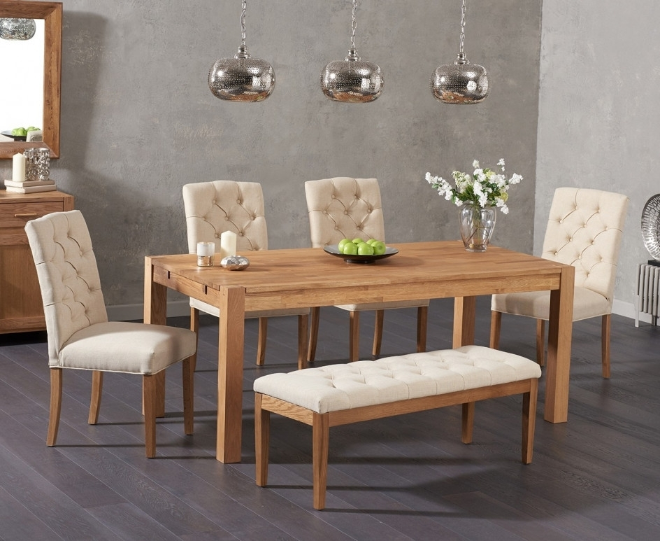 Verona 150Cm Solid Oak Dining Table With Candice Fabric Chairs And within Candice Ii 6 Piece Extension Rectangle Dining Sets
