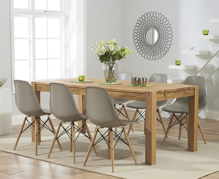 Verona 150Cm Solid Oak Extending Dining Table With Charles Eames Regarding Oak Furniture Dining Sets (Image 25 of 25)