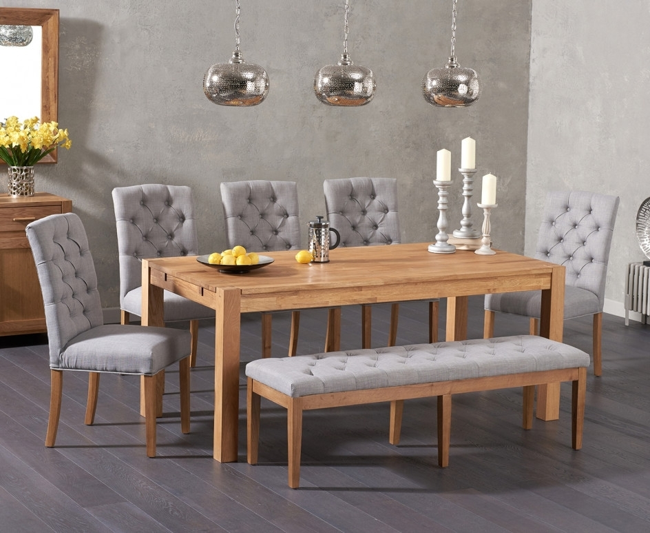 Verona 180Cm Solid Oak Dining Table With Candice Fabric Chairs And Intended For Candice Ii 6 Piece Extension Rectangle Dining Sets (Image 25 of 25)