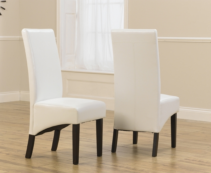 Verona Dark Ivory Faux Leather Dining Chair With Dark Brown Legs (A with Ivory Leather Dining Chairs
