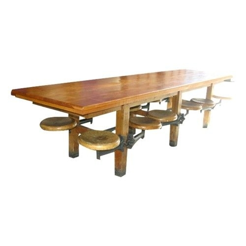 Very Cool Vintage Twelve Seat Cafeteria Table With Attached Stools Within Dining Tables With Attached Stools (Image 24 of 25)