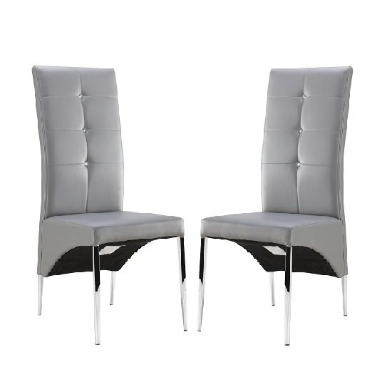 Vesta Studded Dining Room Chair In Grey Faux Leather In A within Grey Leather Dining Chairs