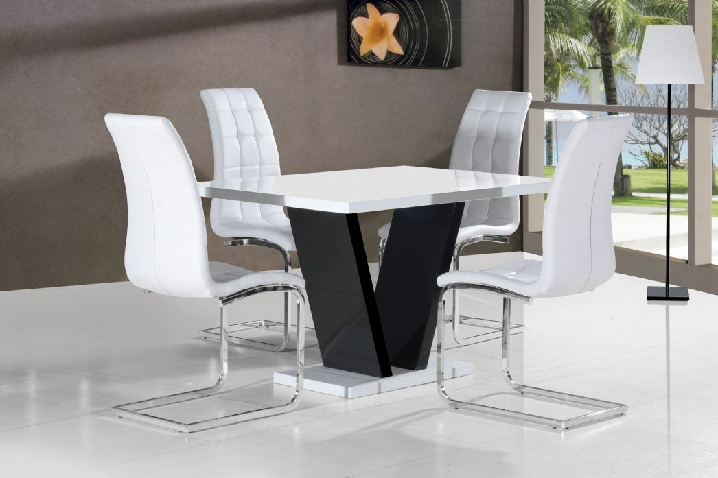 Vico White Black Gloss Contemporary Designer 120Cm Dining Table Only For White Gloss Dining Tables 120Cm (Image 23 of 25)