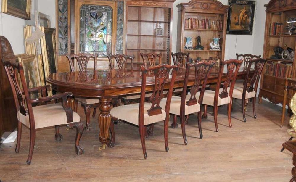 Victorian Dining Table Set Chippendale Chairs Set Suite Mahogany Pertaining To Mahogany Dining Tables Sets (View 18 of 25)