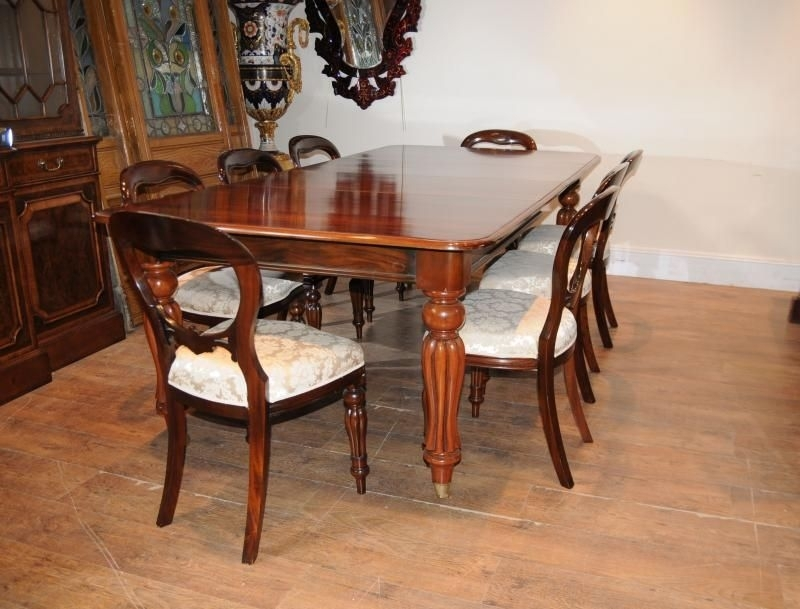 Victorian Mahogany Dining Table Set Chairs Balloon Back | Dining Inside Mahogany Dining Tables Sets (View 2 of 25)
