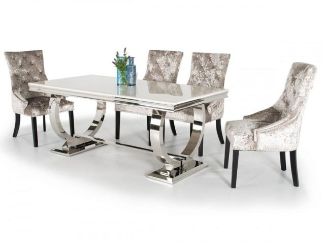 Vida Living Arianna Marble And Chrome Dining Table With Eden Suede Throughout Chrome Dining Room Sets (Image 25 of 25)
