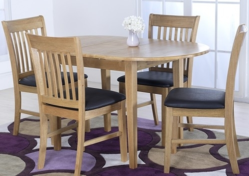 Vida Living Cleo Oak Oval Extending Dining Table And 4 Chairs Set With Extendable Dining Table And 4 Chairs (View 4 of 25)